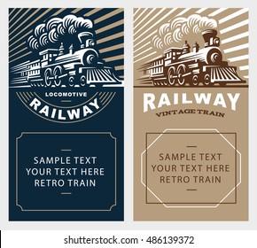 Locomotive poster illustration, vintage style emblem