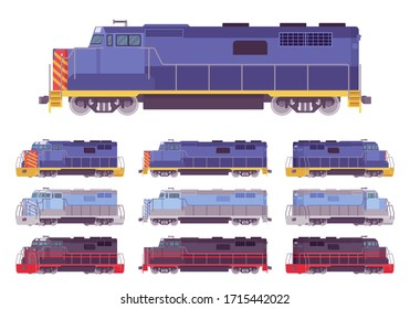 Locomotive, railway vehicle for pulling trains. Railroad engine, energy, movement or power to produce, pushing force and motion. Vector flat style cartoon illustration, different views and colors