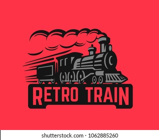 Locomotive Retro black illustration logo. Vector vintage