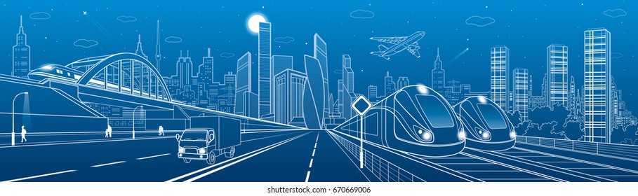 Locomotive rides on bridge. Truck driving to highway. Two trains. People walking. Urban infrastructure, modern city on background, towers and skyscrapers, airplane fly. Vector design art