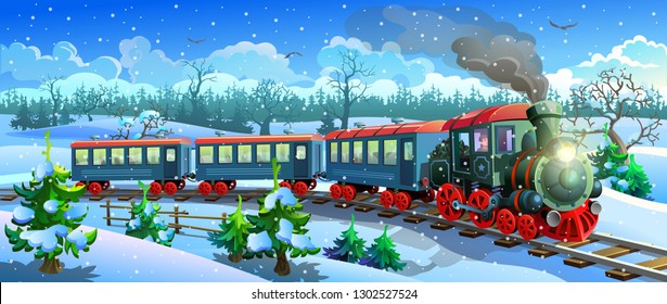 locomotive in the snow forest. Steam train rides among the snowy fields and forests. Vector illustration.