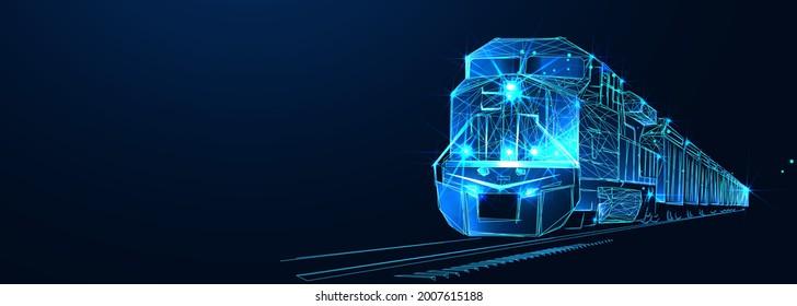Lokomotive. Drittlogistik, Zug, Transport, Frachtexport, Import. Integrierter Lager- und Transportbetrieb. Zuglieferung. Digital Polygonal Low-Poly-3dillustration, landi