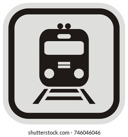 A locomotive or train in a button style, vector icon. vlak, ikona, zna?ka