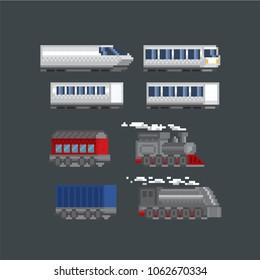 Locomotive, train pixel icon. Pixel art. Old school computer graphic. 8 bit video game. Game assets 8-bit sprite.