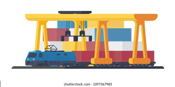 Locomotive for transportation goods by railway. The process of loading a freight container. Sea port or railway gantry crane with train. Mechanism for lifting and moving vehicles.