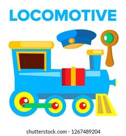 Locomotive Vector. Children Toy. Train Road Railway. Isolated Cartoon Illustration