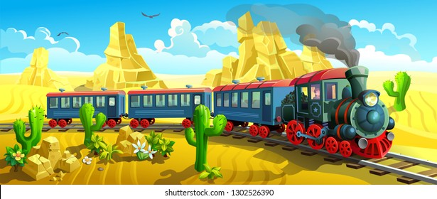 locomotive in the wild west. Steam train rides among the sands and cacti. Vector illustration of a western.