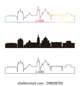 Lodz, Poland skyline linear style with rainbow in editable vector file