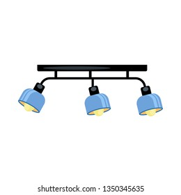 Loft ceiling lamp. Blue lampshades, metal beam, lightbulbs. Vector illustration can be used for topics like contemporary interior, light, apartment design