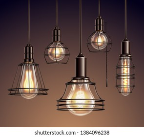 Loft edison vintage metal wire frame hanging  lamps with soft glowing light bulbs realistic set vector illustration