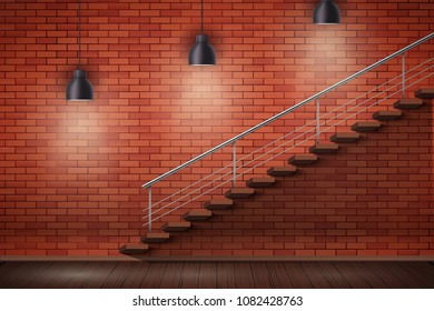 Loft Interior of red brick wall and staircase and wooden floor with vintage pendant lamps. Grunge Industrial Interior. Vector Illustration.