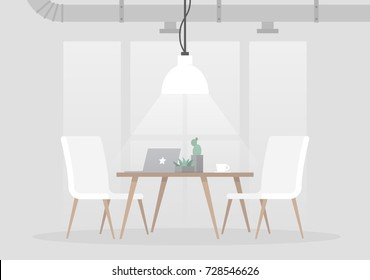 Loft interior, vector illustration. Light grey colors and minimalistic furniture. Empty space, no people. Flat editable vector illustration, clip art.