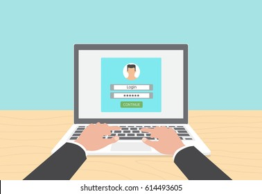 Log in account on the laptop. Hands on the laptop. Vector Illustration. Man.