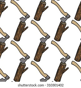 Log and axe - wood and tools. Hand-drawn seamless cartoon pattern with timber. Doodle drawing. Vector illustration.