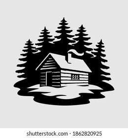 Log Cabin House in The Woods