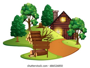 Log cabin with many trees illustration