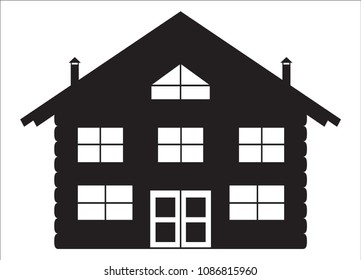 A log cabin silhouette isolated on a white background