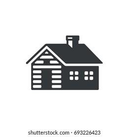 Log cabin, simple icon or logo. Vintage wooden cottage vector illustration.