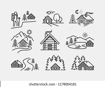 Log Cabin Vector Icons