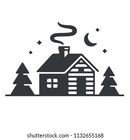 Log cabin in woods icon or logo. Simple wooden cottage at night, vector illustration.