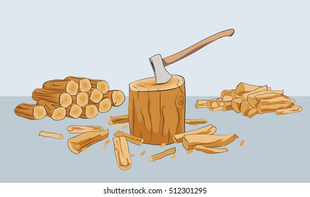 Log. Chopping wood. Stack of firewood. Axe in stump. Vector illustration