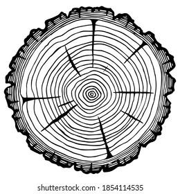 Coupe de billes, récolte de bois de chauffage, scierie. Image vectorielle isolée sur fond blanc. Espace pour le texte.
