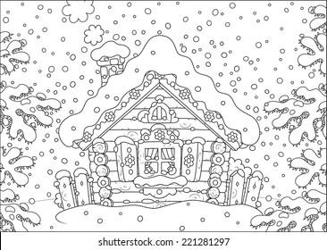 Log hut in snow on Christmas