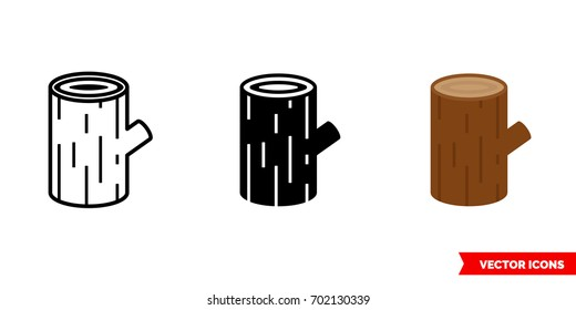 Log icon of 3 types: color, black and white, outline. Isolated vector sign symbol.