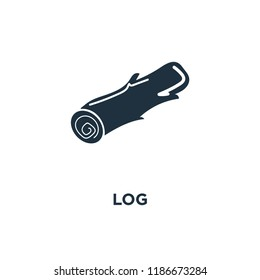 Log icon. Black filled vector illustration. Log symbol on white background. Can be used in web and mobile.
