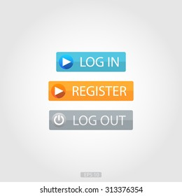 Log In, Register & Log Out Buttons