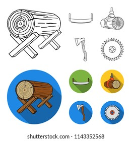 Log on supports, two-hand saw, ax, raising logs. Sawmill and timber set collection icons in outline,flat style vector symbol stock illustration web.