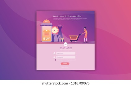 log in page design, online shopping template, page builder design