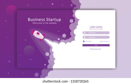 log in page design, rocket launcher template, page builder design