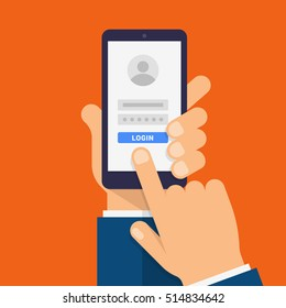 Log in page on smartphone screen. Hand holds the smartphone and finger touches screen. Modern Flat design illustration.