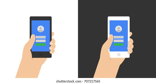 Log in page on smartphone screen. Hand holds the smartphone. Modern Flat design illustration.