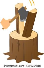 Log splitting isolated vector illustration.