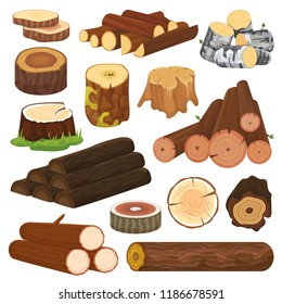 Log vector tree lumbers or logging trunks and hardwood of wooden timbered materials in sawmill illustration lumbering set of firewoods isolated on white background