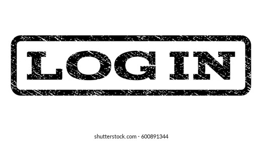 Log In watermark stamp. Text caption inside rounded rectangle frame with grunge design style. Rubber seal stamp with dirty texture. Vector black ink imprint on a white background.