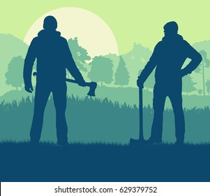 Logger with axe want to cut firewood vector background landscape with trees