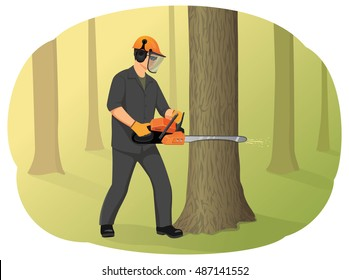 Logger in helmet cutting tree trunk with chainsaw. Timber harvesting. Natural forest restoration.