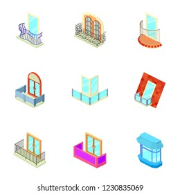 Loggia icons set. Isometric set of 9 loggia vector icons for web isolated on white background