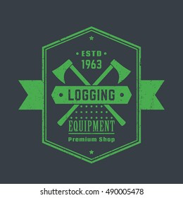 Logging equipment, lumber shop vintage logo, emblem with lumberjacks axes, vector illustration