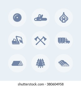 Logging, forestry equipment icons, sawmill, logging truck, tree harvester, timber, lumber, logging isolated icons, vector