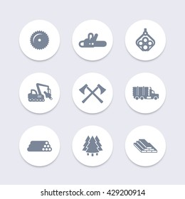 Logging, forestry equipment icons, tree harvester, timber, logging truck, lumber, logging vehicle round isolated icons, vector