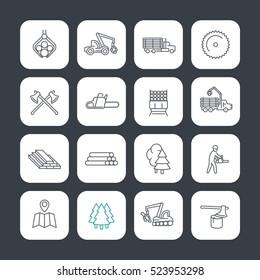 Logging line icons set, timber harvester, logging truck, lorry, lumberjack, lumber, sawmill