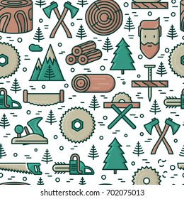 Logging and lumberjack with beard seamless pattern with related thin line icons: jack-plane, sawmill, forestry equipment, timber, lumber. Vector illustration for banner, web page, print media.