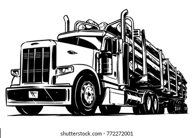 Logging Truck black and white illustration