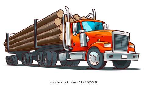 Logging Truck. Cartoon illustration