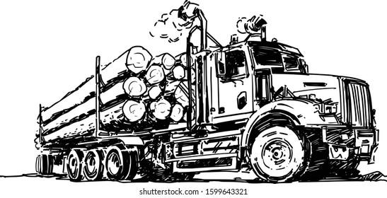 Logging Truck drawing. Vector illustration