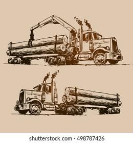 Logging truck illustration